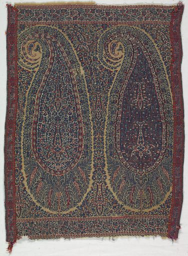 Shawl fragment with two repeats of a multicolored cone motif with a border above and below. Multicolored band is stitched to each side. Made in: India. Date: 1820s. Record ID: chndm_1941-80-4.