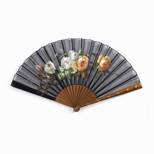 Pleated fan with painted black gauze leaf. Obverse: painted sprig of white and Tea roses. Reverse: plain. Plain wood sticks gilded a rust color. Guards: with same finish as sticks; decorated with bumps imitating bamboo. Made in: France. Date: 1900s. Record ID: chndm_1942-34-3-a.