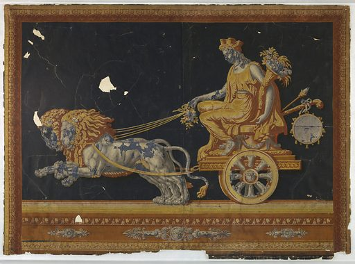 Overdoor panel, design of Cybele seated in a chariot drawn by two lions; with frame representing Greek molding. Made in: France. Date: 1800s. Record ID: chndm_1942-40-1.
