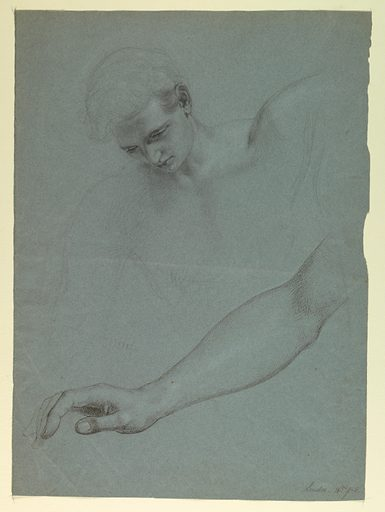 Study of the head and left shoulder of the angel, above. Study of right arm, below. Verso: Drapery study for Mercy's dress. Made in: London, United Kingdom. Date: 1850s. Record ID: chndm_1942-50-110.