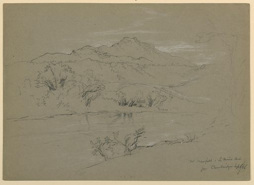 River and bank in foreground, with mountain beyond. Made in: Cambridge, Vermont, USA. Date: 1860s. Record ID: chndm_1942-50-32.