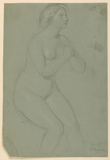 Female nude figure turned to the right with folded, raised hands. Lower part of the legs not shown. Made in: USA. Date: 1850s. Record ID: chndm_1942-50-83.