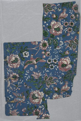 Paper shows design of flowering stems with flying and perching birds. Border in design of flowers arranged in panels with scrolls. Printed in color on blue ground. Made in: USA. Date: 1820s. Record ID: chndm_1942-84-1-a_b.