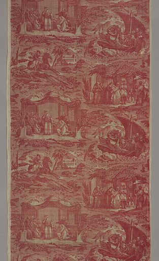 "Four vignettes depicting scenes from the second Crusade story of ""Mathilde et Malek Adhel."" Printed in red on white ground. Made in: Nantes, France. Date: 1810s. Record ID: chndm_1943-43-23-a."