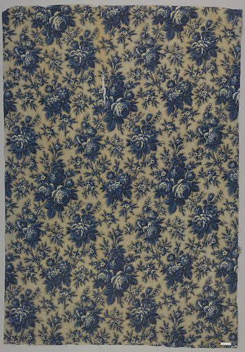 All-over repeat of large scale flowers in blue and background of blue picotage dots. One selvage present. Made in: France, Alsace. Date: 1850s. Record ID: chndm_1943-43-38.