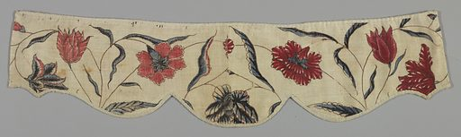 Indian chintz. Twelve fragmentary pieces sewn together to form three complete and part of one window valance. Design of flowers – in Indian style – in blue and red outlined in black on white ground. Made in: England. Date: 1800s. Record ID: chndm_1943-9-2-a_g.