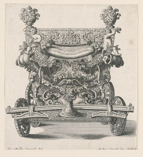 Front view of carriage decorated with carved putti, vegetation, and scrolls. Made in: France or Italy. Date: 1700s. Record ID: chndm_1945-17-6-b.