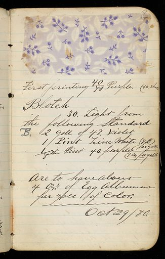 Small notebook with handwritten formulas for dyestuffs for printed textiles. Contains 149 samples of printed fabric. Date: 1880s. Record ID: chndm_1945-55-28.