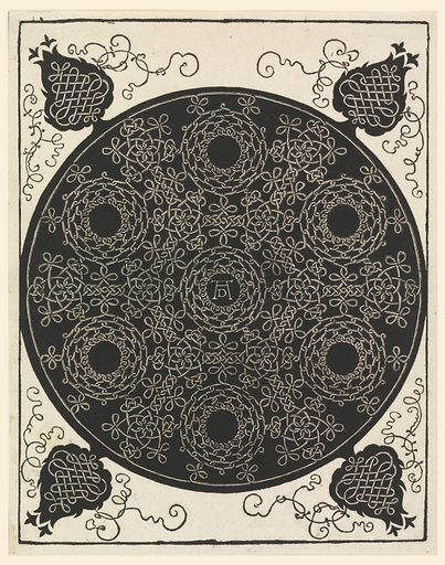 On a black circular ground, a pattern of continuous knots, forming six roundels with open centers around a seventh, in which are the artist's initials (in monogram). From the circle, at the four corners of the plate are stylized tree forms, in black, on which are further knots and tendrils. Made in: Germany. Date: 1400s. Record ID: chndm_1946-34-1.
