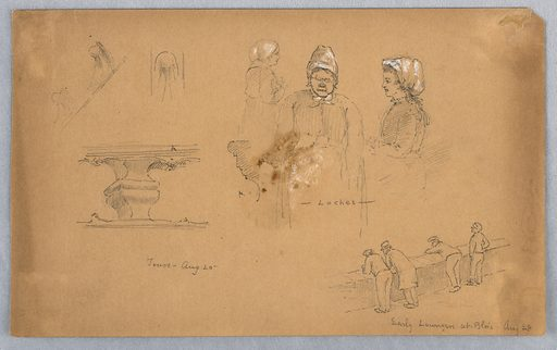 Left, railing at Tours. Center, three sketches of woman with bonnet, two profiles one front. Lower right, 4 male figures leaning over a low stone wall. Made in: USA. Date: 1880s. Record ID: chndm_1948-47-160.