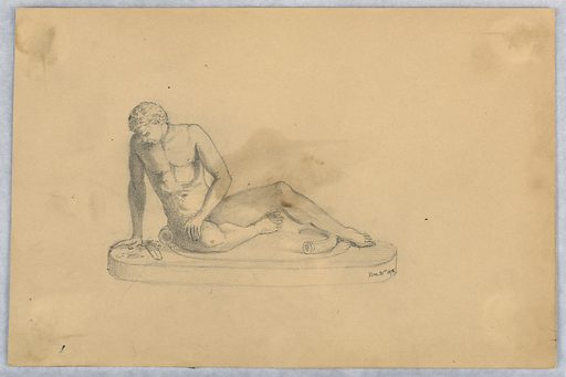 Sculpture, nude man reclining to left, over a sword—possibly a study of The Dying Gual. Made in: USA. Date: 1870s. Record ID: chndm_1948-47-274.