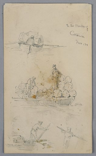 Upper and center, sketches of boats with cargos and figures sitting or standing. Below, sketches of men with poles in boats. Made in: USA. Date: 1880s. Record ID: chndm_1948-47-282.