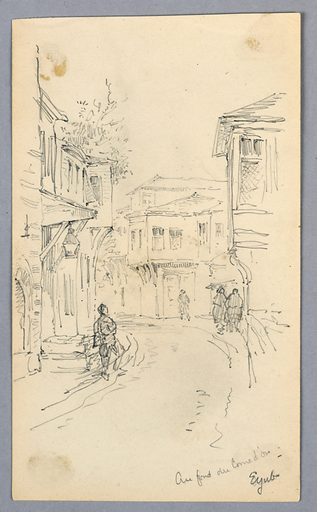 Narrow street, road curves to the left. Houses and figures walking on sidewalk. Made in: USA. Date: 1880s. Record ID: chndm_1948-47-288.
