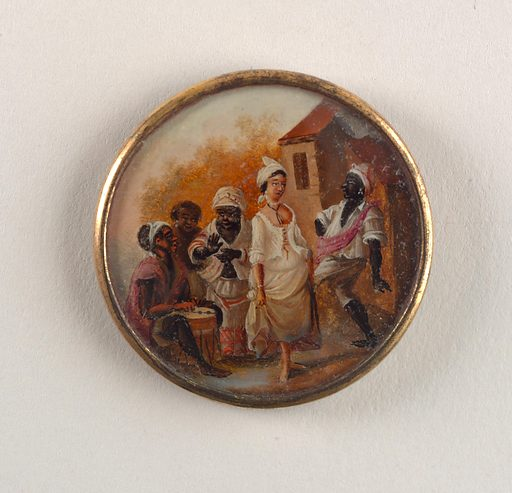 Button depicting scene of five figures outside near a large house. From left: a seated man, wearing a pink shirt, playing a drum, a woman with only head visible standing behind another woman, wear white with pink stripes, who claps [to the music]. In the foreground, a lighter skinned woman wearing an open corset and skirt dances with a man who wears white clothing and a pink sash. Date: 1790s. Record ID: chndm_1949-94-8.