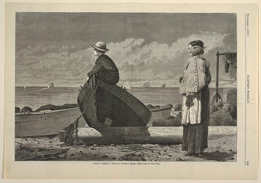 Horizontal scene at the shore's edge with a woman carrying a child at right, a small boy perched on a rowboat toward the left, and sailing boats on the sea in the background. Made in: USA. Date: 1870s. Record ID: chndm_1951-93-12.