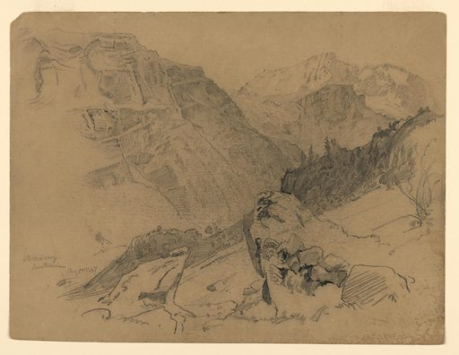 Sketch of a mountain pass. Made in: Steckelberg, Switzerland. Date: 1860s. Record ID: chndm_1953-179-43.