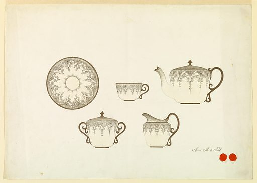 Horizontal rectangle. Design for the decoration of a cup, saucer, teapot, creamer, and sugar bowl. Design in gold on light yellow background. Made in: USA. Date: 1880s. Record ID: chndm_1953-31-8.