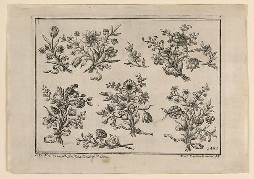 Top row: three nosegays, a twig. Bottom row: three nosegays; two twigs, horizontally disposed. Date: 1720s. Record ID: chndm_1898-28-2.