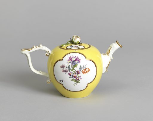 Globular body, scrolled strap handle; spout terminating in a dog's head; cover with flower in high relief, round the base of which is a metal ring. Body yellow, with two shaped panels outlined in gold and black bands, of white reserve with bouquets of flowers; smaller panels on cover. Date: 1750s. Record ID: chndm_1912-13-12-a_b.