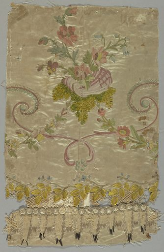 White satin ornamented with embroidery in colored silks and chenille threads in a design of scrolling lines, flowers, and flowering vines. Handmade net is inserted near the bottom. Selvage has a green stripe. Date: 1770s. Record ID: chndm_1928-16-13.