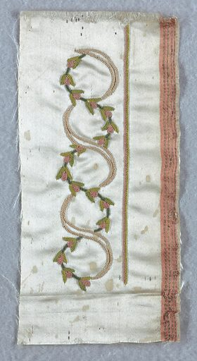 White satin embroidered using colored silks in designs of flowers on curving stems intertwined with ribbons or floral sprays with ribbons. Made in: France. Date: 1770s. Record ID: chndm_1928-16-29-a_l.