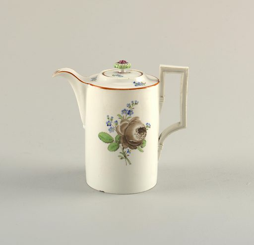 Coffeepot with Grisaille Roses. Date: 1800s. Record ID: chndm_1931-40-52-a_b.
