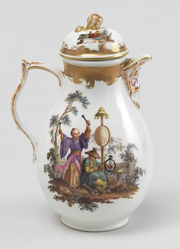 Pear-shaped; bracket lip, double-curved strap handle. Domed cover with flower finial. Vignettes of Chinoiserie figures in landscape, with gilded and painted imbricated borders. Date: 1780s. Record ID: chndm_1938-57-650-a_b.