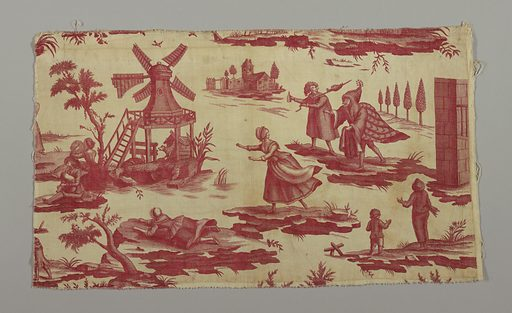 Two pieces Small section of a large design. This section contains a windmill, a dancing couple, commedia del'arte figures and comic scenes. In red on white. Made in: France or England. Date: 1810s. Record ID: chndm_1995-50-43-a_b.