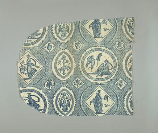 Circular and oval cartouches containing goddesses and decorative ornament on a background of scalloped lines. In blue on white. Made in: Jouy, France. Date: 1830s. Record ID: chndm_1995-50-62.