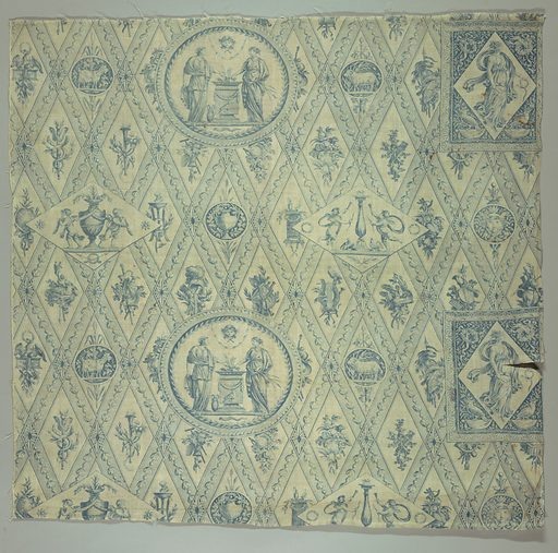 Blue and white copperplate printed textile. Made in: Jouy, France. Date: 1810s. Record ID: chndm_a-t-5.