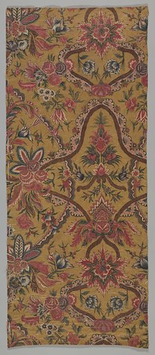 Rich and involved design of flowers and cords in reds, blue, purple, black and green on a khaki background. Made in: India. Date: 1700s. Record ID: chndm_1995-50-330-a_b.