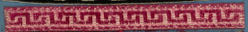 Red and yellow trimming fragment in a Greek fret pattern. Made in: France. Date: 1800s. Record ID: chndm_1909-2-53.