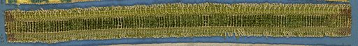 Green trimming fragment with a central band in squares of cut and uncut velvet. Made in: France. Date: 1800s. Record ID: chndm_1909-2-57.