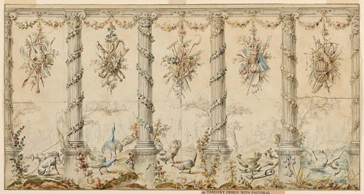 Colonnade of Ionic order with garlands of flowers twisted and festooned between the fluted columns. Suspended in the intercolumniations are trophies of garden implements and other attributes of agricultural life. On the ground, behind the colonnade appear dogs, peacocks, fowl, a fox in a trap and geese. Border in ink frames scene.-Based on text by R. Berliner. Made in: France. Date: 1780s. Record ID: chndm_1911-28-142.