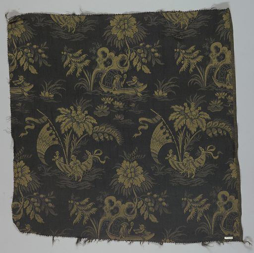 Reproduction textile inspired by French eighteenth century fabric in the Cooper Union Museum collection. Design has figures in Chinese costume fishing in a small boat with water lilies and other plants on a black ground. Made in: USA. Date: 1920s. Record ID: chndm_1915-5-10-a.