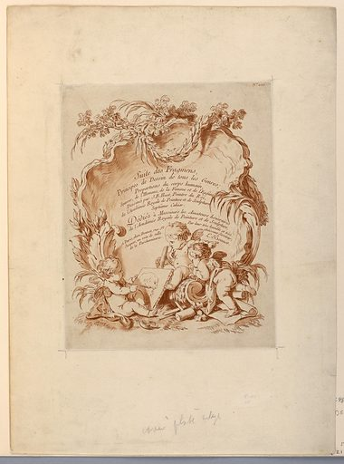 The text is written in an upright standing shell, at the bottom of which two putti watch a third one painting. Right top corner: No. 404. Print maker: Louis-Marin Bonnet, French, 1736 – 1793. Made in: France. Date: 1780s. Record ID: chndm_1921-6-26.