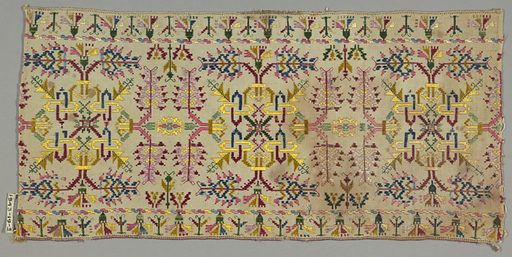 Embroidery in formalized design of interlacements, leaves and carnations with narrow borders of carnations. Made in: Cyclades, Greece. Date: 1800s. Record ID: chndm_1943-19-3.