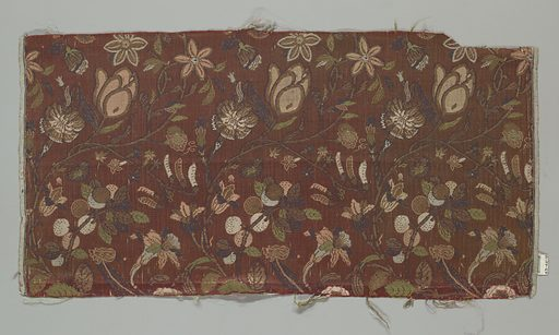 Undulating stems with flowers and fruit in polychrome silks and gold on a rust satin ground. The gold threads are gilded strips of paper cut to fit the desired pattern; not a true brocading technique. Made in: Japan. Date: 1800s. Record ID: chndm_1943-46-16.
