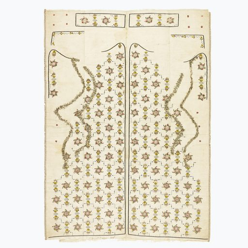 Design of rayed circles alternating with diamonds having rays at two points, set between horizontal lines turning at right angles. Parts are indicated for waistcoat fronts, reveres, collar, pocket flaps, and buttons. Made in: France. Date: 1800s. Record ID: chndm_1943-46-37.