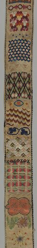 """Bell pull made of canvas with embroidery, arranged as cross borders, in floral and geometric designs (one with initials """"A. W."""" and date """"1752""""); brass handle at either end, pierced in design of Chinese type. Embroidery in canvas stitches. Bell pull is backed with yellow cotton plain cloth. Made in: Germany. Date: 1800s. Record ID: chndm_1943-46-69-a_c."""