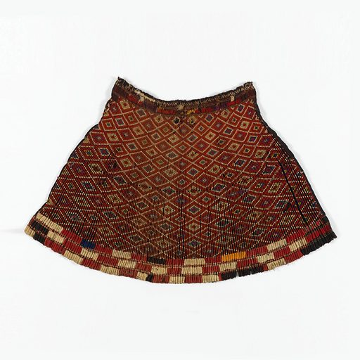 Black linen plain cloth with horizontal stripes of red. The material is closely pleated and the pleats held in place by threads; on the top of each pleat is a pattern of tiny flowers embroidered in colored wools, arranged to form a lozenge design. At the bottom of the skirt are bands of red, white and blue cotton cloth; at the top, herringbone stitches in colored wools. Made in: Burma. Date: 1800s. Record ID: chndm_1943-56-1.