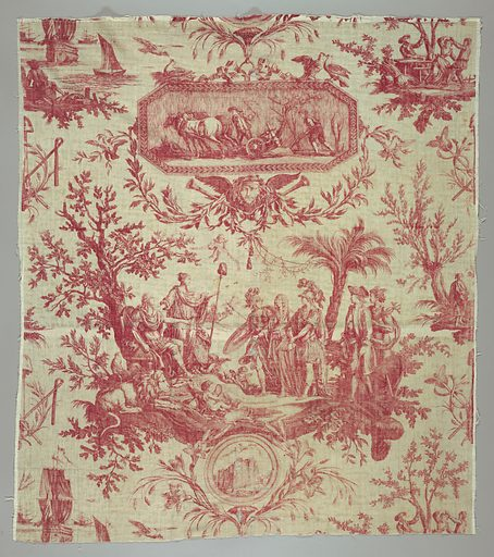 """Textile printed with red on white showing one repeat of a design showing Louis XVI as the """"restaurateur de la liberté """". Made in: Jouy, France. Date: 1790s. Record ID: chndm_1944-22-5-a."""