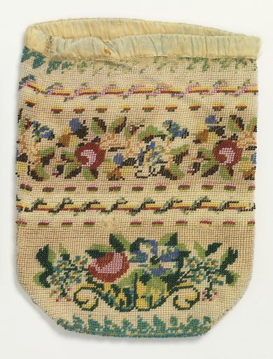 Colored glass beads strung and stitched to cotton foundation, with a design of cornucopias of flowers, with twined-rope borders. Bound with ribbon at the top. Made in: USA. Date: 1800s. Record ID: chndm_1944-57-4.