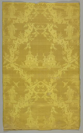 Nineteenth-century copy of an eighteenth-century Louis XV chinoiserie damask in bright yellow with a pattern of figures, festoons and pagodas. Made in: Italy. Date: 1800s. Record ID: chndm_1944-72-4.