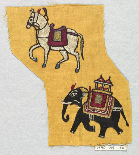 Yellow satin embroidered in chain stitch with a design of a white horse and a black elephant. Made in: India. Date: 1800s. Record ID: chndm_1945-39-11-a.