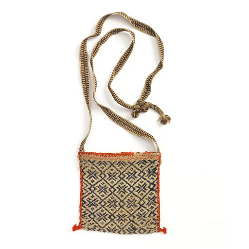Lozenge pattern in blue on tan background. Bag is sewn together with bright red wool; shoulder bnd in plain weave. Made in: Nayarit, Mexico. Date: 1800s. Record ID: chndm_1949-109-4.