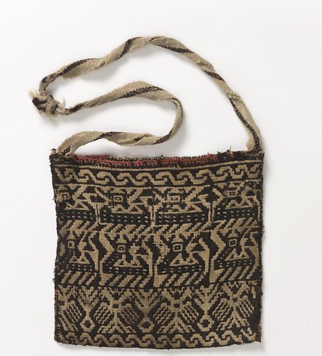 Woven bag that depicts rows of animals on one side. The other has a diamond shape with enclosed stars. Shoulder band in plain weave. Made in: Mexico. Date: 1800s. Record ID: chndm_1949-109-5.