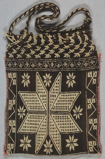 Large brown and tan shoulder bag with a star surrounded by smaller stars. Top of bag is braided. Made in: Mexico. Date: 1800s. Record ID: chndm_1949-123-1.