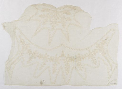 Piece of gauze with deeply lobed collar and cap piece with floral designs, embroidered in chain stitch and one type of fillling stitch. Made in: Philippines. Date: 1800s. Record ID: chndm_1951-111-47.