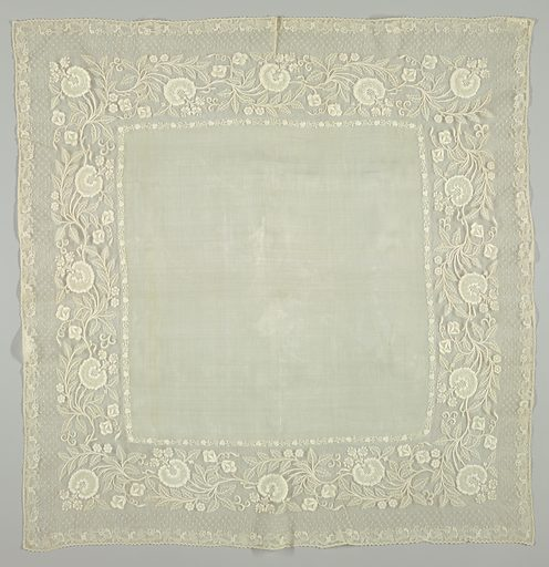 Handkerchief in piña cloth edged with a wide border, embroidered in cotton in drawnwork in large scale floral sprays. Made in: Philippines. Date: 1800s. Record ID: chndm_1951-111-48.